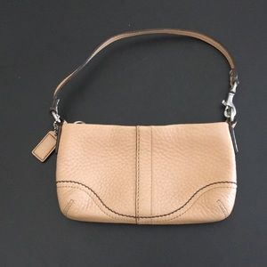 Coach Leather Wristlet - natural tan
